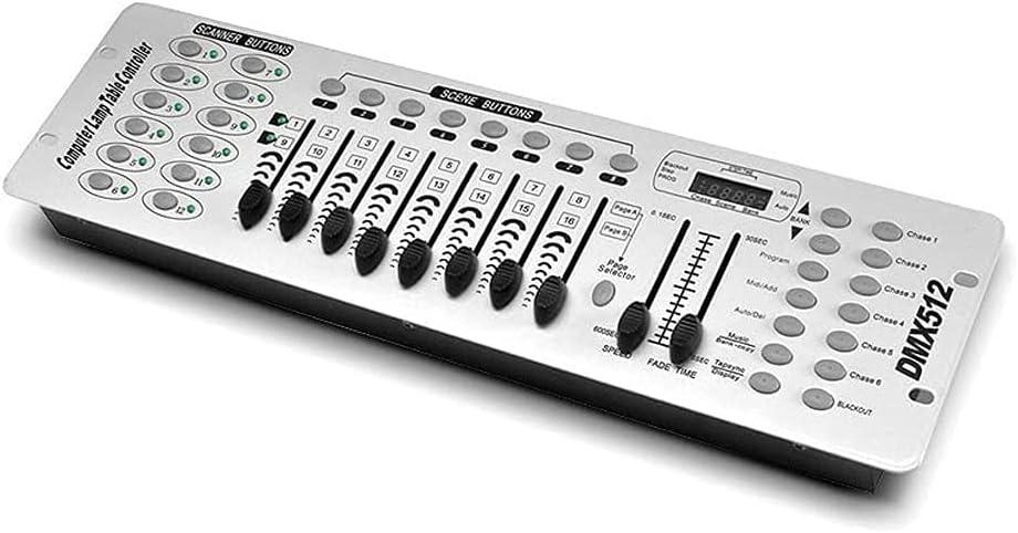 NIPEECO Controlador DMX de 192 canales DMX512, 240 escenas para fiestas, DJ, discotecas, conciertos en vivo, KTV, luz de cabeza móvil, lámpara de escenario, equipo operador (blanco)