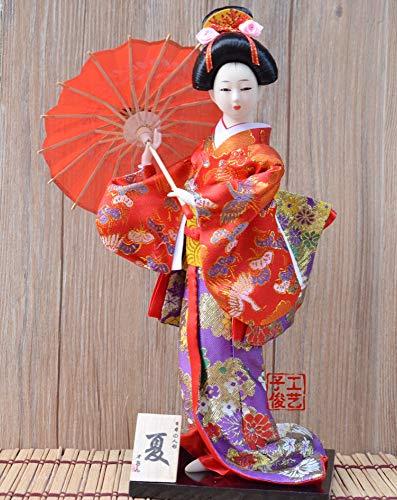 Geisha Japonesa Figurilla, Mano Belleza Kimono Pequeña Estatua Estatuilla Mini Ornamento Creativo Vintage Collectibles Art Deco Regalos para Casa Salón Dormitorio Sombrilla Roja
