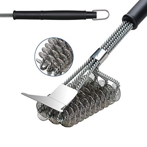 COVVY Spazzola per griglia, acciaio inox, spazzola per barbecue e raschietto, senza setole metalliche, spazzola durevole per la pulizia del barbecue p