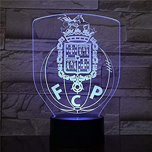 YOUPING Luz Fantasma 3D Led Futebol Clube Do Porto Illusion Fc Porto Football Dragoon Logo Fcp Noche Lámpara Mesa Mesita Niños Niños Led Niños S Luz Noche