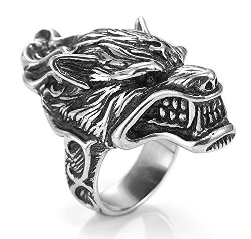 Anillo para hombre de plata de ley S925 con el rey del lobo, dominante de la moda retro, anillo de boda para novio o padre regalo 14-30# 21#