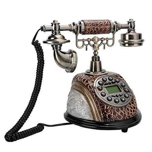 Teléfono de estilo antiguo, FSK/DTMF Teléfono con cable Retro Royal Vintage Dial Auricular con cable Escritorio europeo clásico Teléfono decorativo Teléfono digital fijo, para oficina en casa