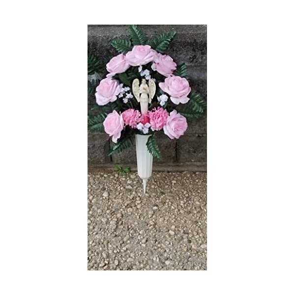 Sympathy Artificial Flowers, Pink Roses, Cemetery Flowers
