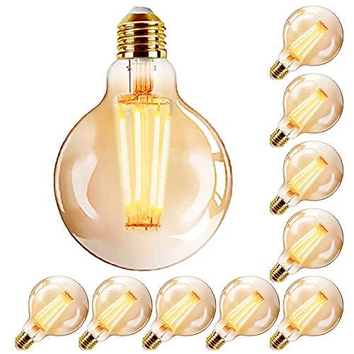 YDHNB E27 Edison Glühbirne LED Vintage Lampe, Dimmbar 4W (Ersetzt 40W) LED Filament Retro Birne, Antike Amber Warm Licht Lampe für Nostalgie und Retro Beleuchtung - 10 Stück,10 pcs 110v,A60