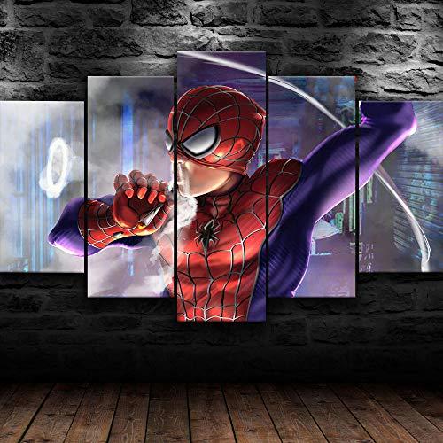 IKDBMUE 5 teiliger Kunstdruck auf Leinwand Filmcharakter Spider Man Cooler Cartoon Wandbild, Öl-Landschaftsbilder für zuhause, Moderne Dekoration für Wohnzimmer