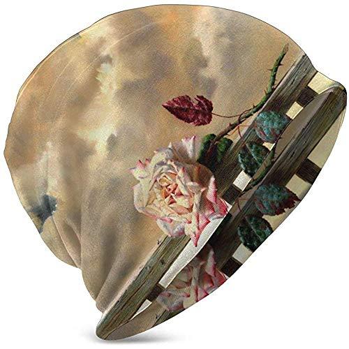 Unisex Beanie Caps Künstlerische rosa verwelkte Rose Cloud Malerei Schädelkappe Strickmütze Warme Winter Sommer Strickmützen