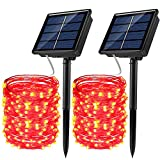 JosMega Upgraded Solar Powered String Fairy Lights 2 Pack 33 ft 100 LED 8 Modes Waterproof IP65 Twinkle Lighting Indoor Outdoor Fairy Firefly Lights Auto ON/Off (2 Pack 33 ft 100 LED, Red)