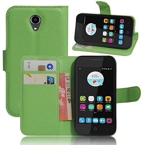 Tasche für ZTE Blade L110 Hülle, Ycloud PU Ledertasche Flip Cover Wallet Case Handyhülle mit Stand Function Credit Card Slots Bookstyle Purse Design grün