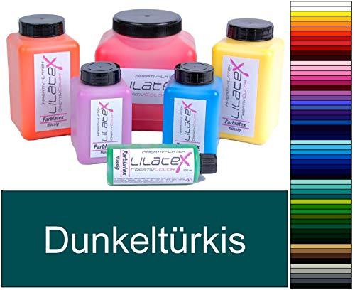 Lilatex 1 Liter farbiges Flüssiglatex/Farblatex/Latexmilch - dünnflüssiges Naturlatex (dunkeltürkis)