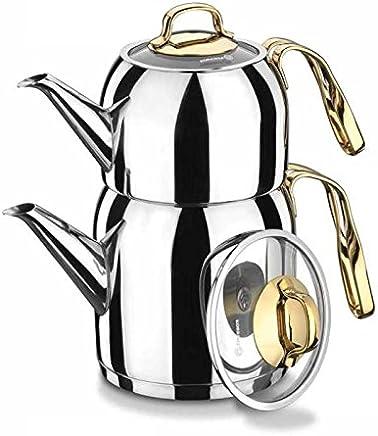 Preisvergleich für Korkmaz A193 Goldia Teekocher Teekanne 2.5 l Gold Induktion Teekanne Teapot