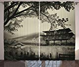 Ambesonne Asian Curtains, Long Exposure Chinese Building Traditional Japanese Picture Illustration, Living Room Bedroom Window Drapes 2 Panel Set, 108' X 63', Sepia Monochrome