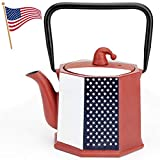 Toptier Teapot, Japanese Tetsubin Cast Iron Teapot Tea Kettle with Infusers for Loose Tea, 30 Ounce (900 ml), Christmas Hat