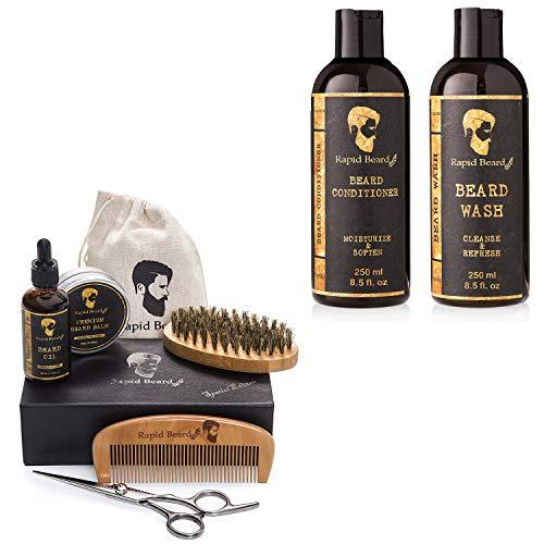 Beard Grooming & Trimming Kit and Beard Shampoo and Beard Conditioner Bundle