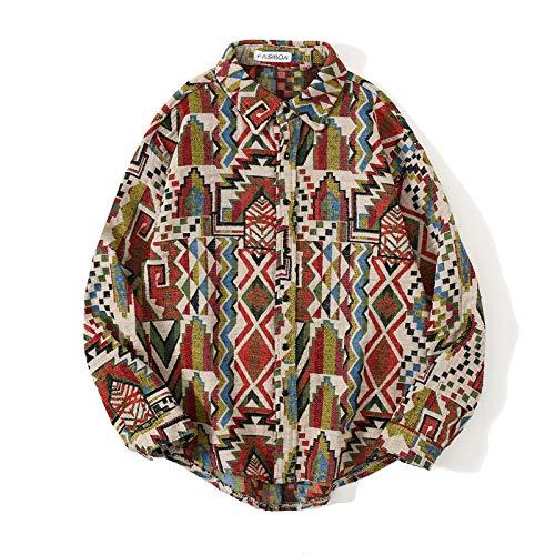 Camisa de Manga Larga con Estampado étnico Retro para Hombre, Solapa de Moda, Chaqueta de Camisa cálida básica clásica Relajada de un Solo Pecho M