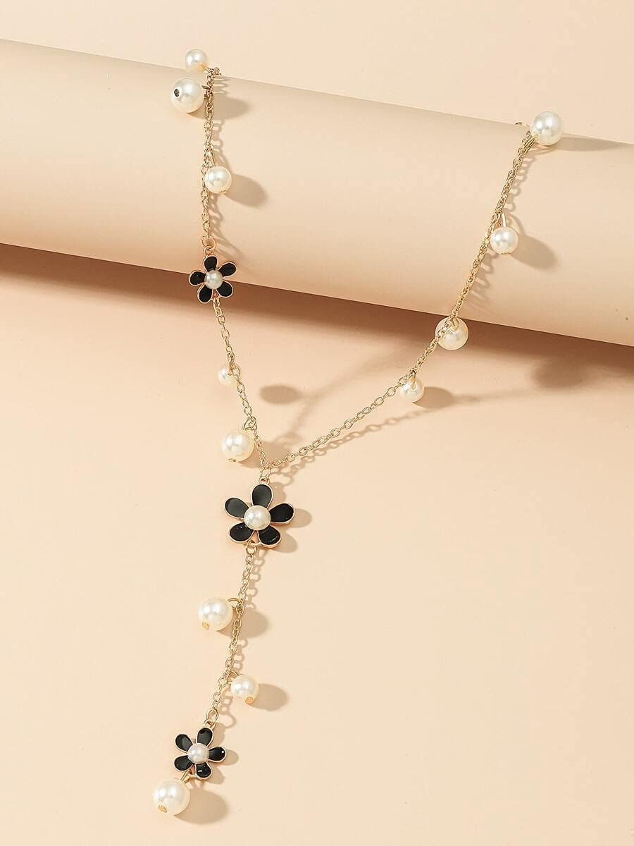 AXJTNL Necklace Pendant Faux Pearl & Flower Decor Y Lariat Necklace (Color : Gold)