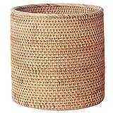 Liseng Papelera de ratán hecha a mano, almacenamiento de cilindro, papelera de...
