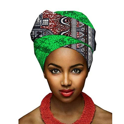 Yijinstyle Femmes Turban Africain Bonnet de Sommeil Traditionnel Cire Imprimé Écharpe de Tête Element Headwraps (Style#8, 50 * 180cm)