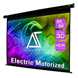 Akia Screens 150 inch Motorized Electric Remote Controlled Drop Down Projector Screen 16:9 8K 4K HD 3D Retractable Ceiling Wall Mount Black Projection Screen Office Home Theater Movie AK-MOTORIZE150H