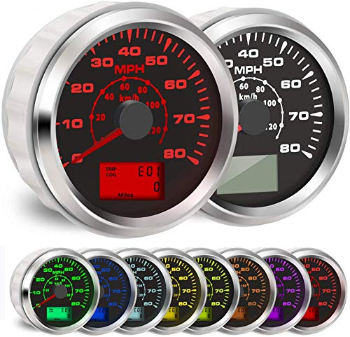 BLUERICE 7 Backlight Universal GPS Speedometer 0-120Km/h 0~80MPH 85MM GPS Speed Odometers Speed Gauges Indicators