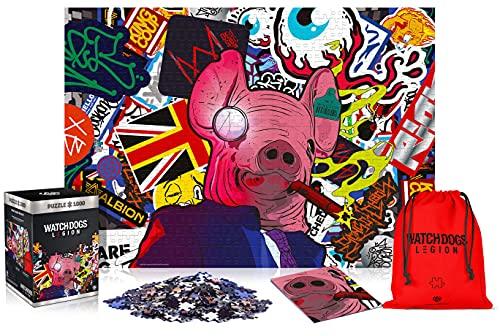 Watch Dogs Legion: Pig Mask - 1000 pezzi puzzle 68cm x 48cm   include poster e borsa   Videogioco   Puzzle per adulti e adolescenti