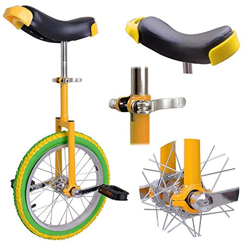 16' Wheel Unicycle Comfort Saddle Seat Skid Proof Tire Chrome 16 Inch Steel Frame Yellow Green Bike Cycle