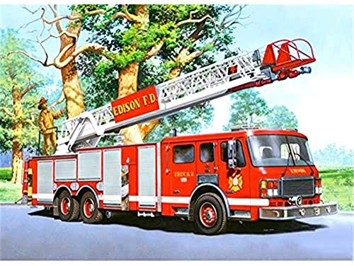 Gempajk 5D Diamond Painting Kits for Adults and Kids fire Truck Full Drill Diamond Art Kits and Crafts Diamond Painting by Number Kits for Home Wall Decoration AB0167-Ruond Drill_20x30cm