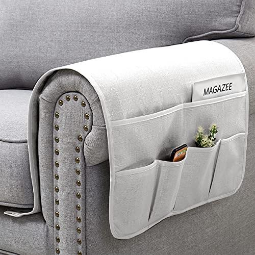SyMax Sofa-Armlehnen-Organizer mit 6 Taschen, Stuhl, rutschfest, für Liegestuhl-Fernbedienung, TV-Steuerung, Handy (weiß, 88,9 cm)