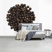 Fotobehang vinyl Peper - Fotobehang Peper - Rondje van zwarte peperkorrels fotobehang vinyl breedte 280 cm x hoogte 280 cm...