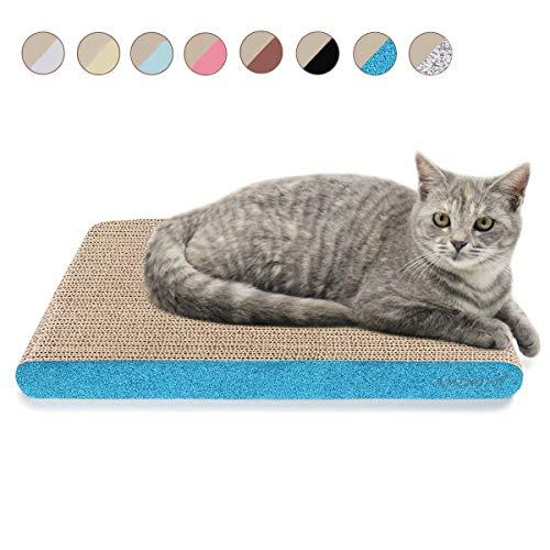 AMZNOVA Kratzbrett für Katzen, Recycelbar Kratzpad, Wellpappe Kratzmatten Kratzlounge Kratzspielzeug mit Katzenminze (Breit-43.2x30.5cm, Glitzer Blau)