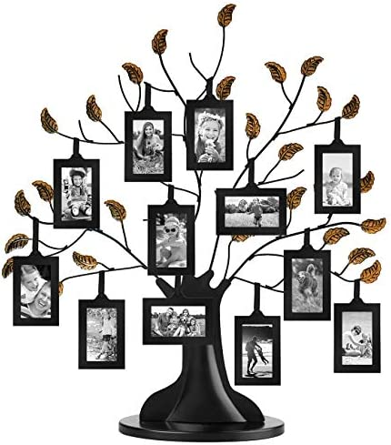 Americanflat Bronze Family Tree with 12 Hanging Picture Frames 2 x 3 in Black and Adjustable product image