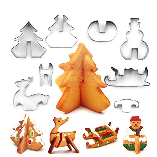 Feeke 8 Stück Ausstechförmchen Weihnachten Plätzchen Ausstecher Set Edelstahl Keksausstecher Keksform für Keks Backen Fondant PlätzchenTortendekorationen