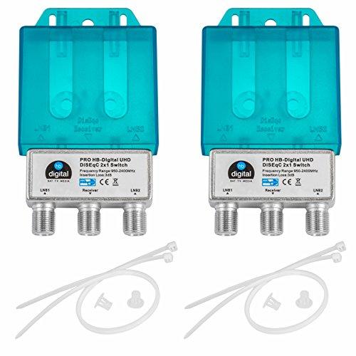 2X PRO DiseqC Schalter Switch 2/1 mit Wetterschutzgehäuse HB-DIGITAL 2X SAT LNB 1 x Teilnehmer / Receiver für Full HDTV 3D 4K UHD