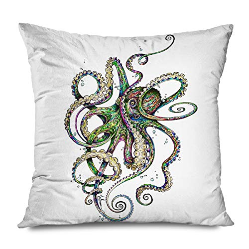 DANGCCI Animal Decorative Throw Pillows Cushion Cover for Bedroom Sofa Living Room Abstract Watercolor Painting Octopus Pillowcase 16 x 16 Inches