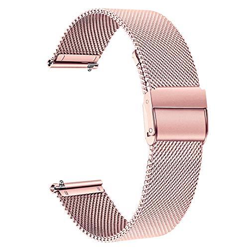 TRUMiRR Reemplazo para Garmin Vivomove 3S Correa de Reloj de Mujer, 18mm Banda de Reloj de Acero Inoxidable de Malla Tejida Pulsera de Correa de liberación rápida para Garmin Vivoactive 4S 40mm