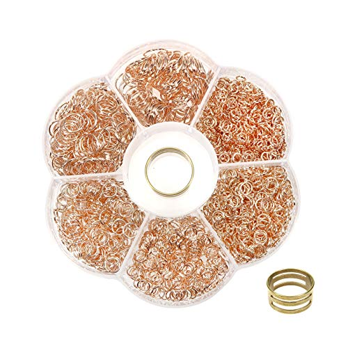 TOAOB 1500pcs Rose Gold Tone Open Jump Rings 4mm to 10mm with Jump Ring Open Tool for Jewelry Making