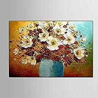 キャンバスの花の油絵、3 Dの手描きの現代美術抽象壁アート花の絵画、リビングルームのための現代絵画、寝室,70x100cm