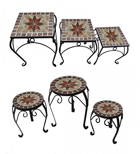 Benelando 3er Set Blumenhocker Beistelltisch Gartentisch Blumentisch Blumenständer Blumen (Quadratisch)