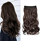 """20"""" Curly Wavy Hair Extensions Clip in on Synthetic One Piece 5 Clips Full Head Hair piece for Women (Dark Brown)"""