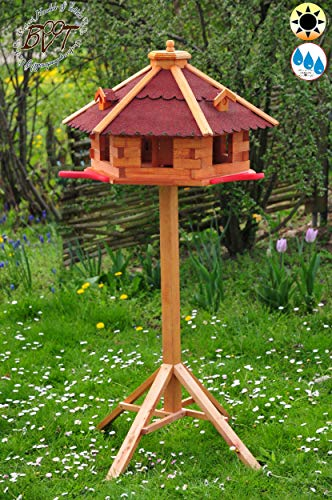 oelbaum Garten-Vogelhaus-Blockhaus, XXXL 75 cm mit Anflugbrett Holz rot mit Ständer rot