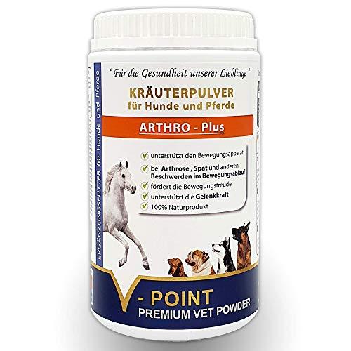 V-POINT ARTHRO Plus für Starke Gelenke bei Problemen im Bewegungsablauf Arthrose Spat - zur Vorbeugung Premium Kräuter-Pulver für Hunde und Pferde getreidefreies Ergänzungsfutter (500 g)