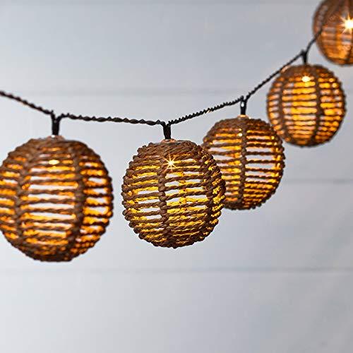 Lights4fun 10er LED Solar Rattanball Lampion Lichterkette warmweiß