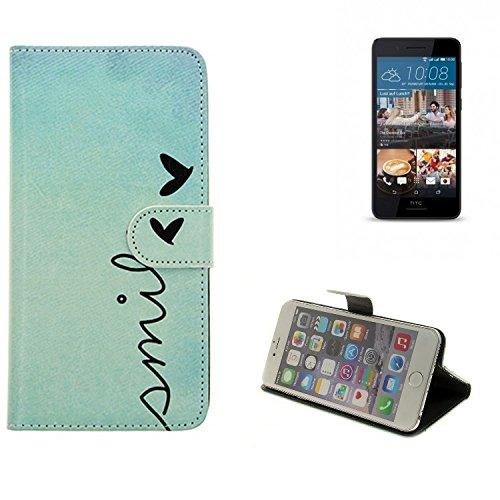 K-S-Trade Schutzhülle Für HTC Desire 728G Dual SIM Hülle Wallet Case Flip Cover Tasche Bookstyle Etui Handyhülle ''Smile'' Türkis Standfunktion Kameraschutz (1Stk)