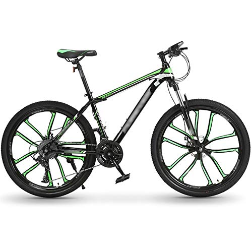 Mountain Bike, 27 Speed Steel Frame 26 Inches 10 Cutter Wheel Dual Suspension Folding Bike, Dual Disc Brakes (Color : 27 speed green, Size : 24inches)