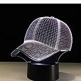 Gorra De Béisbol De Luz Nocturna 3D Lámpara De Escritorio Led Control Táctil 7 Colores Luz De Dormir Cambiante Sombrero De Acrílico Lámparas De Mesa Para Sombrero Deportivo