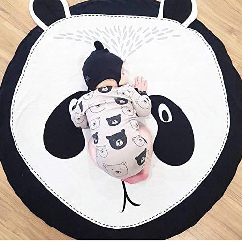 Panda Tapis Chambre de Bébé Tapis éveil Jeu Noir et Blanc Coton Rond Animaux Moquette Enfant Fille Garcon Cadeau AMTPA
