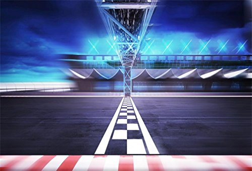AOFOTO 7x5ft Finish Line Race Track Background Motion Blur Stadium Arena Road Photography Backdrop Formula One Motor Car Racing Auto Motorsport Champion Sport Competition Photo Studio Props Vinyl