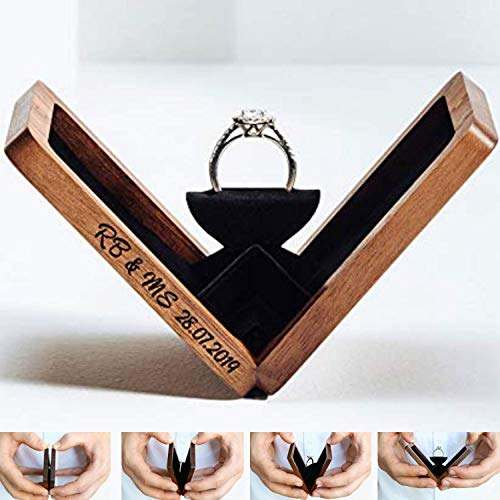 Woodsbury Rotating Wooden Ring Box for Proposal and Ring Box for Wedding Ceremony -Handcrafted Wedding Ring Box -Ring Bearer Box with Concealed Magnetic Closure (Box Only)
