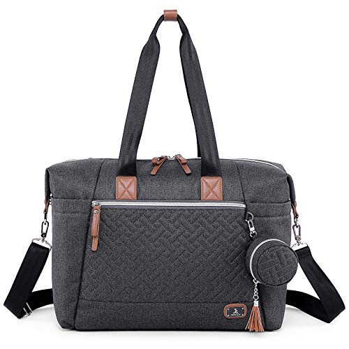 Diaper Bag Tote with Pacifier Case and Changing Pad, Dikaslon Large Travel Diaper Tote for Mom and Dad, Multifunction Baby Bag for Boys and Girls, Dark Grey