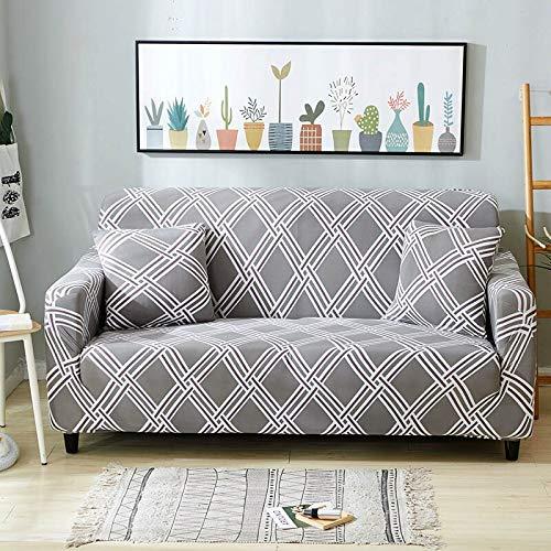 WXQY Funda de sofá geométrica Floral para Sala de Estar Funda de sofá elástica en Forma de L Funda de sillón de Esquina Funda de sofá Funda de Muebles A12 3 plazas