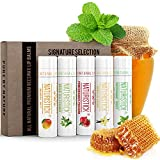 5-Pack Lip Balm Gift Set by Naturistick. Assorted Flavors. 100% Natural Ingredients. Best Beeswax...